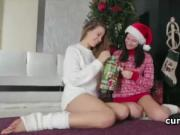 Lesbian school cuties pleasuring horny pussies as Xmas