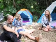 Sexy hot teens fuck with stepdads in the forest