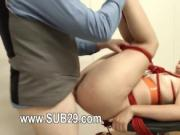 Extreme BDSM butt action with rope and fucker