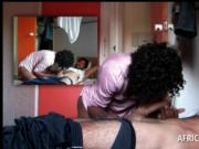 Afro sex goddess blowing white hard dick in a hotel roo
