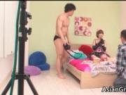 Pretty real asian chick blows rigid erection and gettin