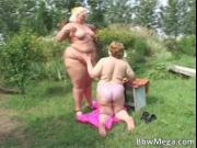 Dirty blonde obese woman and brunette fat slut making o