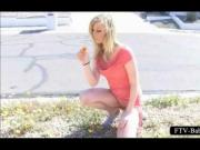 Blonde temptress talks a walk naked in public