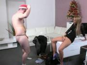 Santa wanking dick on female agent