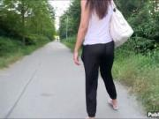 Slim amateur brunette Eurobabe fucked in public for mon