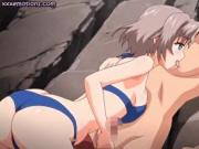 Anime jerks dick with her breasts