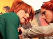 Sexy redhead sluts go crazy getting their cunts pounded