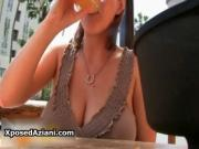 Big natural tits Sara Stone showing her twins outdoor b