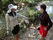 two nasty babes in the river gets horny when uses mud 2