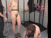 Nasty brunette hoe is all in chains while that horny du