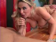 Hot blonde babe Holly Halston sucks stiff rod and gets