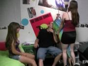 Arousing college chicks lap dancing and fucking at orgy