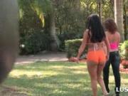 Crazy babes flashing round bottoms outdoor