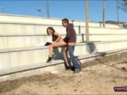 Teen brunette pounded in soccer fields