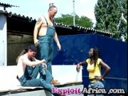 African Slut Marie Gold Shower Blowjob Outdoors