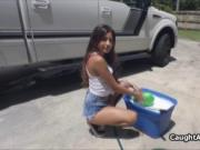 Sexy teen blowjob carwash