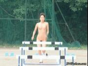 Cute Japanese olympic athletes running naked outdoor by