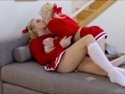 Cute blonde teens Piper and Bailey makes love