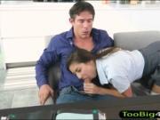 Cute teen schoolgirl Nina North gets slammed by big coc