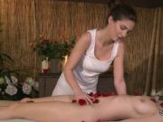 Sexy lesbians in massage room