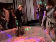 WAM lesbians wrestling in messy mud