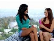 Two lovely teen lesbians Sara Luvv and Chloe Amour dild