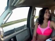 Brunette amateur flaunting sexy tits in car