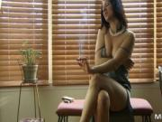 Hot dark haired sexy getting nude while smoking by Mina