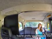 Lesbians playing with dildo in fake taxi
