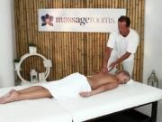 Blonde wanks dick to older masseur