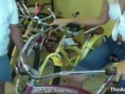 Horny blonde babe sits on this bike and she loved it im