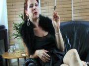 Amazing slutty brunette chick shows her big juggs by Mi
