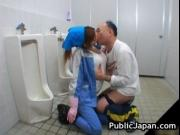 Beautiful maintenance worker is in the mens toilet 9 by