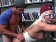 College blonde banged on the book shelf