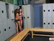A heated threesome in the locker room with Kymberlee an