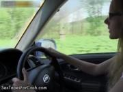 Cute blonde babe gets horny driving by SexTapesForCash