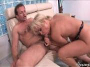 First this smoking hot babe lubricates his cock with he