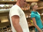 Cute ladies attending sex games for cash in a store