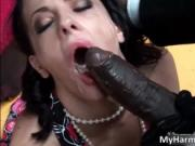 Aroused brunette whore gets facial after sucking two ha