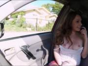 Redhead Kassondra Raine gives carblowjob