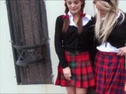 Two hot schoolgirls threesome with nasty dude in the ca