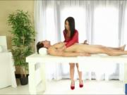 Asian masseuse milks rod under the table