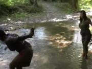 two nasty babes in the river gets horny when uses mud 9