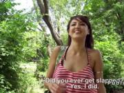 Hungarian hottie deep throats in the public park