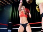 Two female boxers fucked by the referee in the ring
