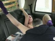 Horny amateur oral sex and fucked hard in the backseat