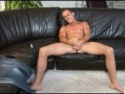 Amazing college stud busting his college nuts on sofa b