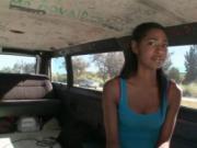Ebony beauty talked into sex in the bus
