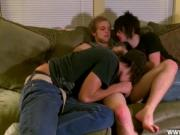 Gay twinks Erik is the lucky one to be double teamed by
