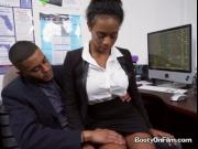 Ebony Secretary Ivy Young Gets Fingered By Boss